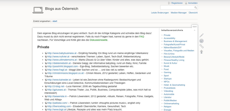 Eine Liste für Blogs aus Österreich